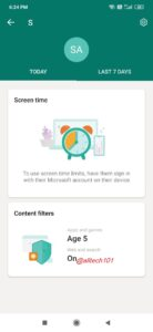 Microsoft Family Safety App screen time